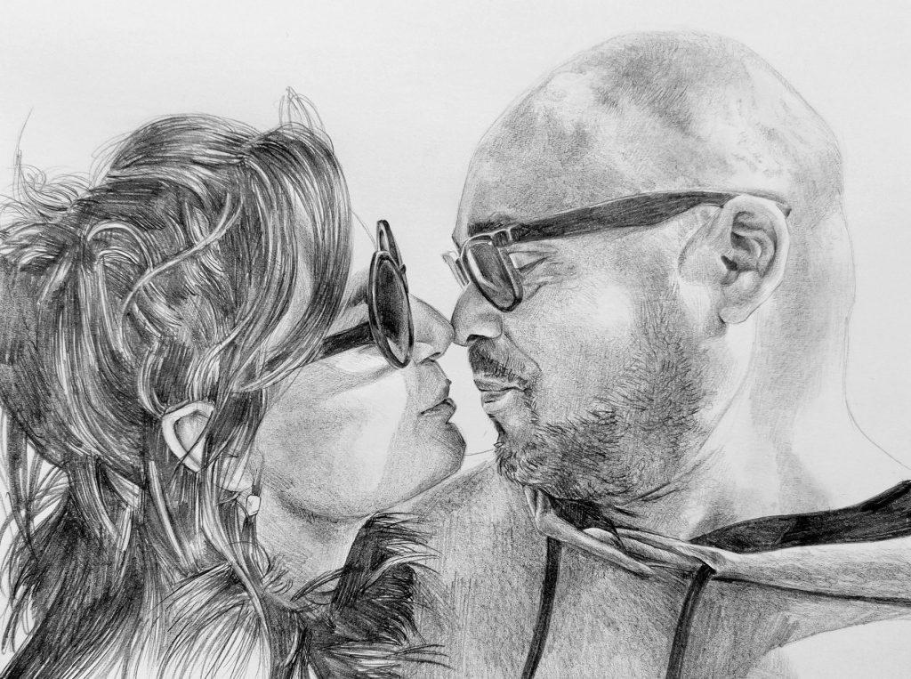 ritratti a matita di coppia