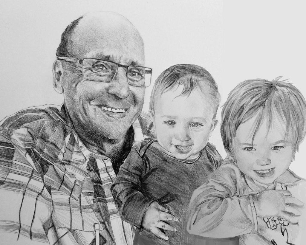 ritratti a matita famiglia