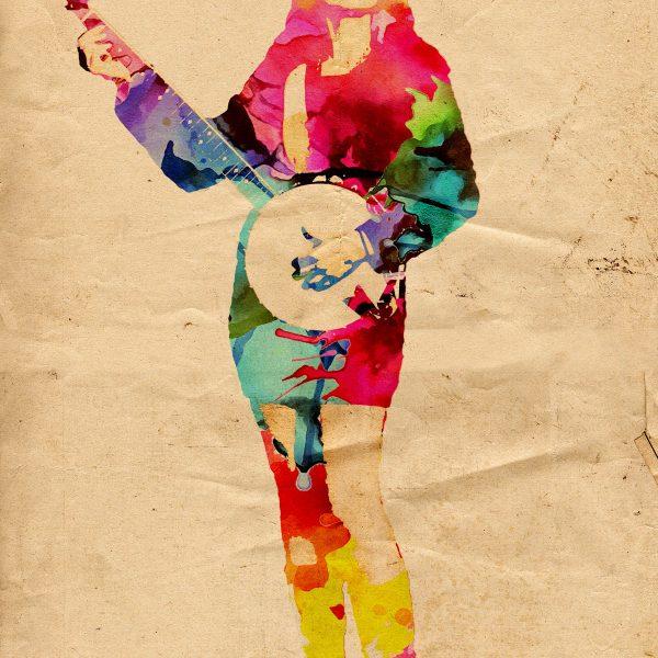 ritratto astratto donna con strumento musicale