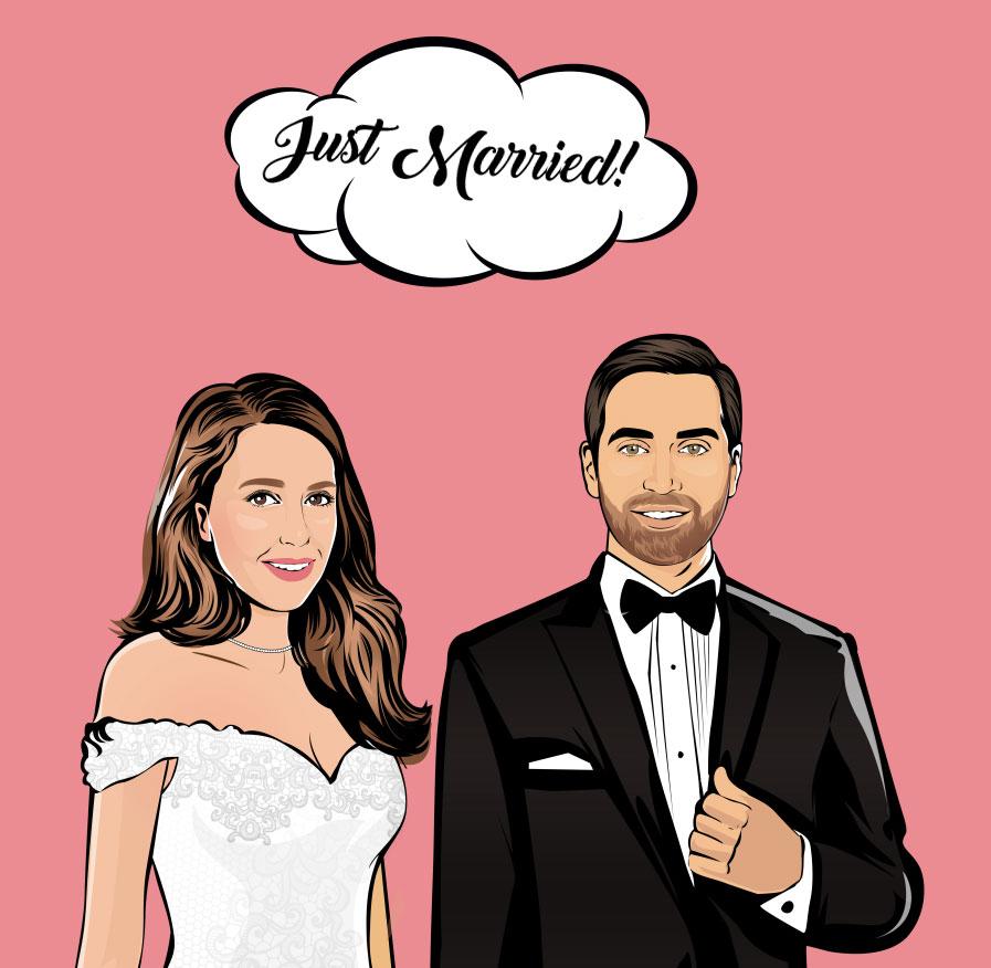 ritratto pop art sposi